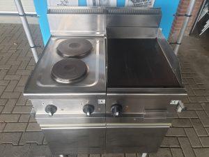 2 pits elektrisch fornuis met bakplaat en onderstel 380v Image